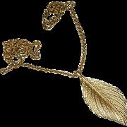 "Elegant Fall Leaf Necklace on 32"" Chain"