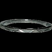 High End Fancy Etched Locking Clamper Bangle Bracelet