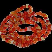 "Rich Sardonyx Carnelian Chip Single Strand Necklace ~ 36"" long"