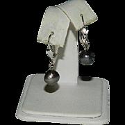Lever Back Black Freshwater Pearl Earrings for Pierced Ears