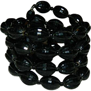 Black Celluloid Beaded Memory Wire Bracelet 4 strands