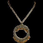 "Egyptian Revival Amber Rhinestone Large Circle Pendant on 24"" Chain"