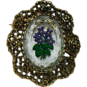 Vintage Intaglio Reverse Carved Painted Glass Cameo Brooch