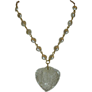 One of a Kind Lace over Lucite Puffy Heart Pendant on Faux Pearl Chain