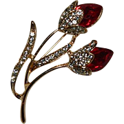 Red Rhinestone Tulip Bud Long Stem Brooch