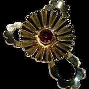 1940's Gold Tone Rhinestone PinWheel Brooch