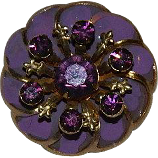 Sparkling Purple Rhinestone Enamel Pin Wheel pin