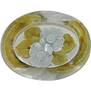 Reverse Carved Painted Lucite Yellow Floral Brooch