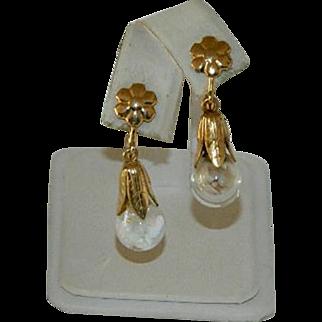 Gorgeous Art Deco Floating Opals Globe Drop Earrings