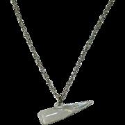 Unique Art Nouveau Floating Opals Horn Shaped Pendant on Sterling Chain