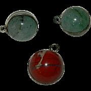 Set of 3 Green Aventurine & Red Jasper Sterling Silver Charms