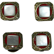 Art Deco Red Enamel Mother of Pearl Snap Cuff Links
