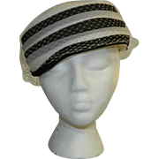 Stix Baer & Fuller Black & White Netted Pillbox Hat ~ Medium