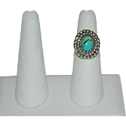 Custom Made Fine Silver Turquoise Ring sz 7