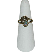 South West Style Gold Filled Floating Opal Ring sz 6