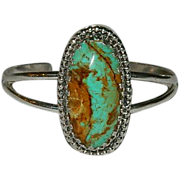Incredible Number 8 Turquoise Sterling Cuff Bracelet