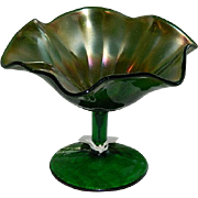 Early 1900's Green Carnival Glass Compote
