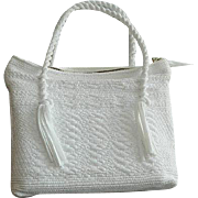 Snow White Soft Straw Weaved Rope Handle Handbag Purse