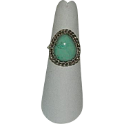 Amazing Custom Turquoise Pear Cabochon Sterling Silver Ring sz 7