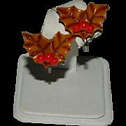 Early Bakelite Hollyberry Christmas Earrings