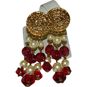 Fab Carolee Poured Red Glass Faux Pearl Dangler Earrings