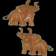 Early Celluloid Elephant Barrettes
