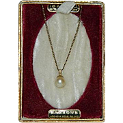 Early 1900's Genuine Cultured Pearl Solitaire Pendant on 18k Gold Filled Chain