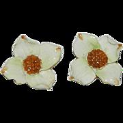 Charming English Porcelain Dogwood Flower Earrings