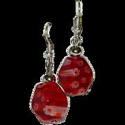 Cherry Red Millefiori Art Glass Dangler Earrings for Pierced Ears