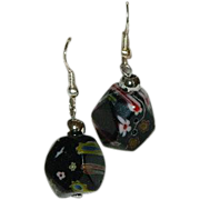 Vintage Millefiori Black Art Glass Dangler Earrings
