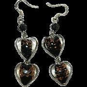 Older Venetian Art Glass Double Heart Black Gold Foil Dangler Earrings