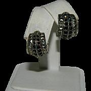 Gothic Dramatic Black Garnet Silver Plated Hoop Earrings Pierced
