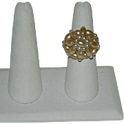 Vintage Faux Pearl Cupcake Shaped Stretch Ring