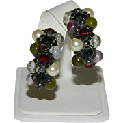 Dramatic Multi Colored Hand Wired Beaded Hoop Earrings