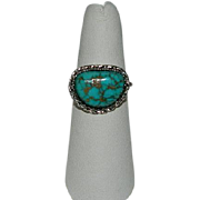 Custom Kingman Turquoise Sterling Silver Ring sz 7