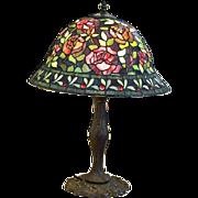 Vintage Leaded Slag Glass Table Lamp