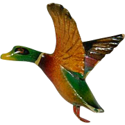 Vintage Hand Painted Carved Mallard Duck Pin Brooch
