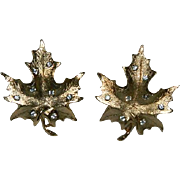 "Sarah Coventry ""Designer's Choice"" Gold Plated Maple Leaf Rhinestone Earrings"