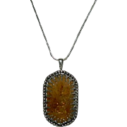 "Gothic Designed Rutilated Citrine Free Form Pendant Sterling Long 24"" Chain"