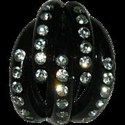Remarkable Black Bakelite Rhinestone Dress Clip