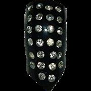 Pristine Black Bakelite Rhinestone Dress Clip