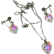 Sparkling Crystal Hearts Necklace & Earring Set ~ T