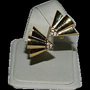 Monet Tension Clip Rhinestone Fan Earrings