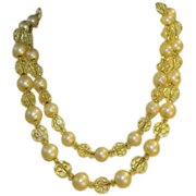 Estate Quality Double Strand Crystal Bead Necklace on Gold Filled Chain
