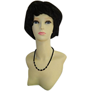 Elegant Black Lucite Beaded Evening Necklace