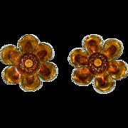 West Germany Golden Yellow Enamel Sunflower Earrings
