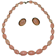 Salmon Pink Lucite Beaded Necklace & Earrings