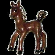 Darling Enamel Rhinestone Pony Brooch Pin