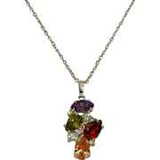 "Stunning 925 Simulated Gemstone Pendant Amethyst Peridot Citrine Garnet on 20"" chain"