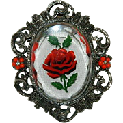 Romantic Valentines Rose Reverse Carved Glass Brooch Pendant Cameo